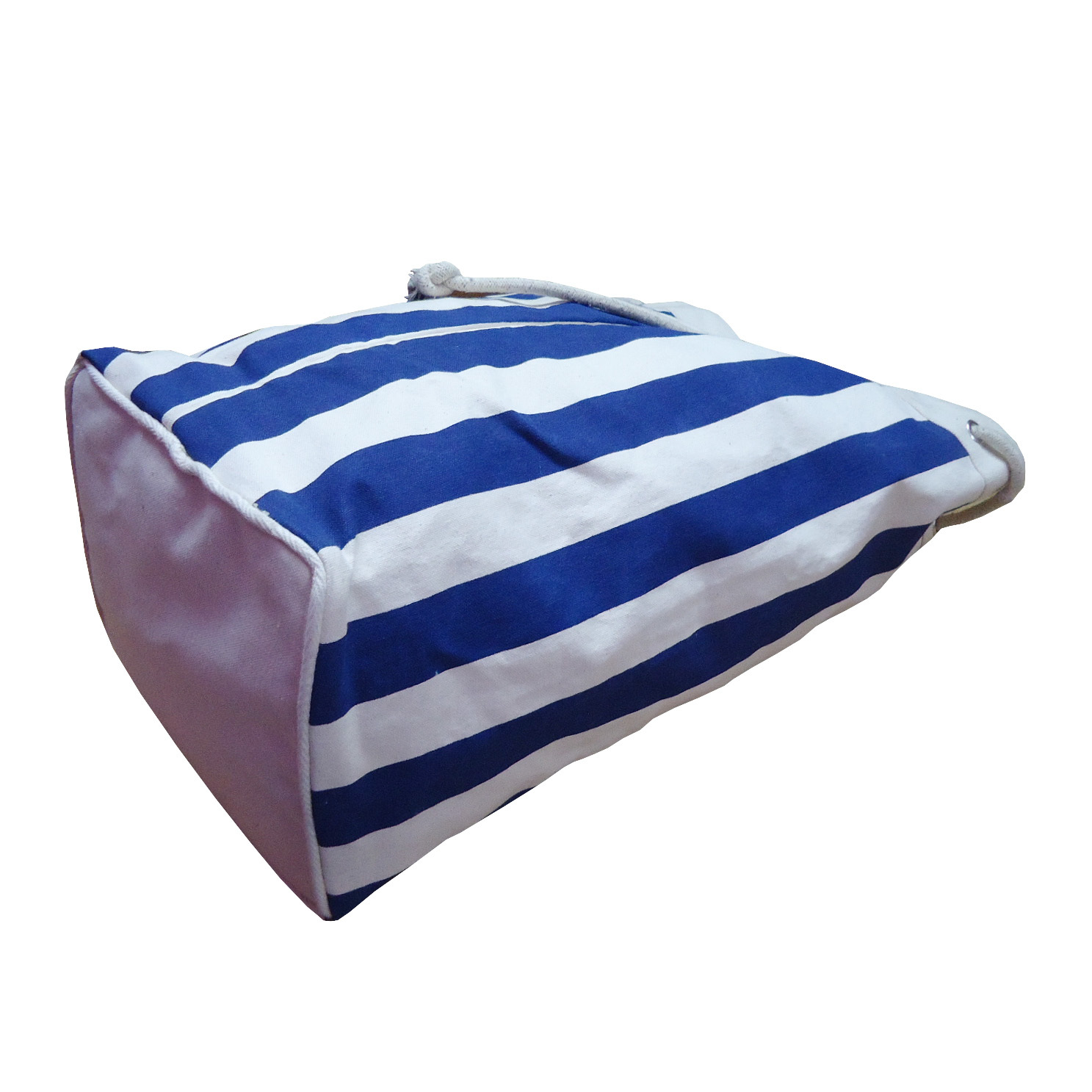 12 Oz Natural Canvas Striped Print Drawstring Duffle Bag