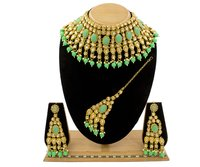 Traditional Kundan & Mint Pearl Choker Necklace Set for Women