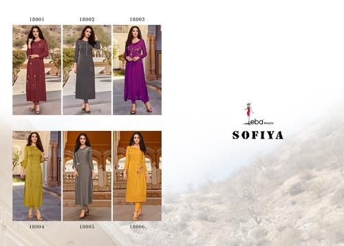 Sofiya Vol-1 Cotton Embroidery Work Kurti Set