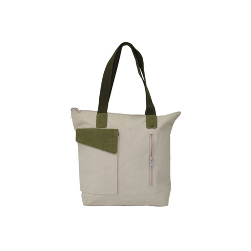 12 Oz Natural Canvas Bag With Web Handle & Pocket