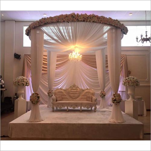 Fabric Drape Wedding Mandap with Flower Ring