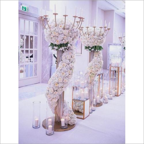 Metal Walkway Flower Pillar