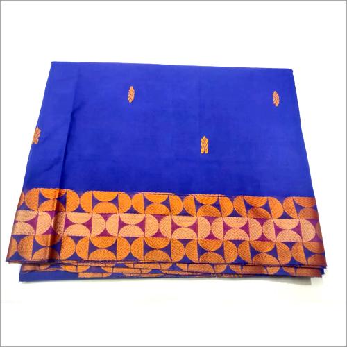 Ladies Blue Cotton Border Saree