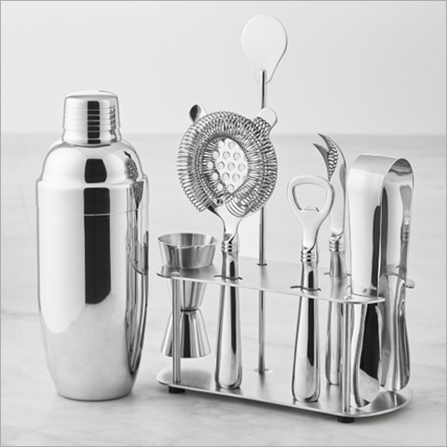 Barset Cocktail Shaker 5 Pcs Bar Tools Set With Stand