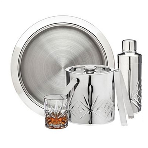 Barset Cocktail Shaker And Double Wall Ice Bucket With Tong