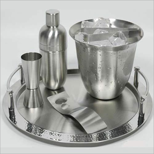 Barset Cocktail Shaker Double Wall Ice Bucket With Tong  Bar Tray Peg Measure  And Opener