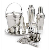 Barset Cocktail Shaker Double Wall Ice Bucket Bar Tray And 5 Pcs Bar Tools Set With Stand