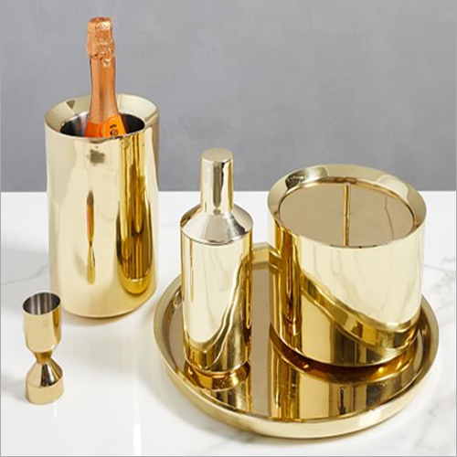 Barset Cocktail Shaker Double Wall Ice Bucket Bar Tray Peg Measure  And Wine Chiller