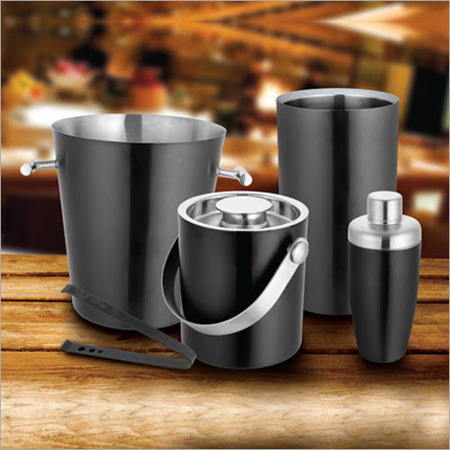 Barset Cocktail Shaker Double Wall Ice Bucket With Tong Champagne Bucket And Wine Chiller