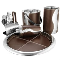 Barset Cocktail Shaker Double Wall Ice Bucket Bar Tray Wine Chiller And 4 Pcs Bar Tools Set With Stand