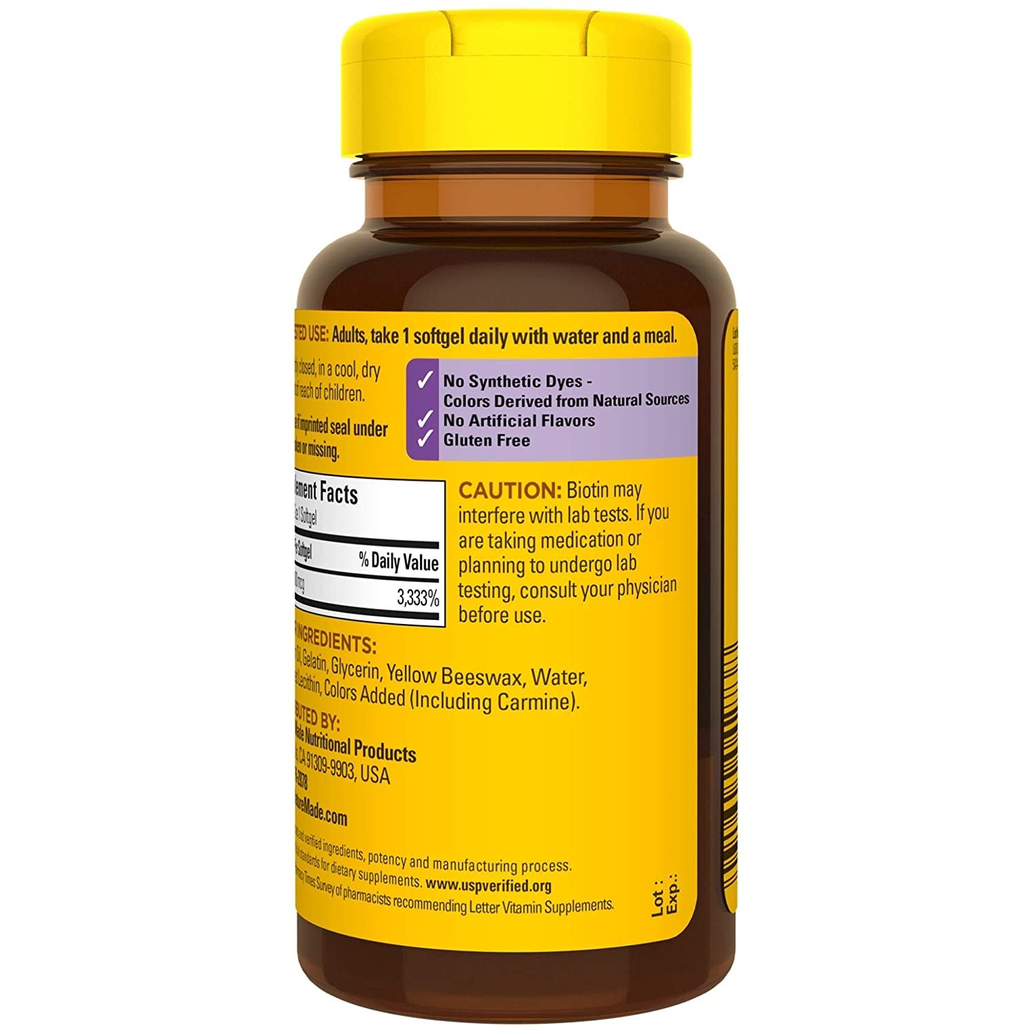 Nature Made Biotin 1000 mcg 120 Softgels