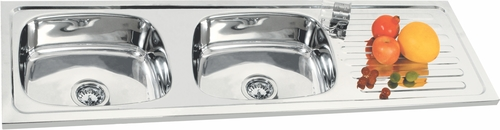 Double Bowl with Drain Board Kitchen sink