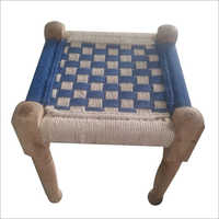 Solid Wood Foot Stool with Jute Weaving