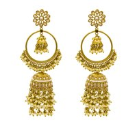 Traditional Gold Plated Antique Jhumki Ad Earrings For Women And Girls