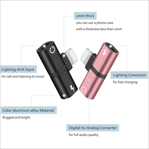 2 in 1 Mini Portable Charging Metal Splitter Audio and Charger Adapter for iPhone
