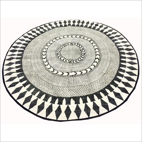 Round Cotton Printed Stone Washed Rugs