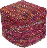 Fancy Sari Silk Poufs And Ottoman