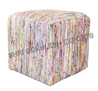 Decorative Sari Silk Poufs And Ottoman