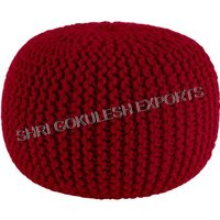 Round Knitted Poufs And Ottoman