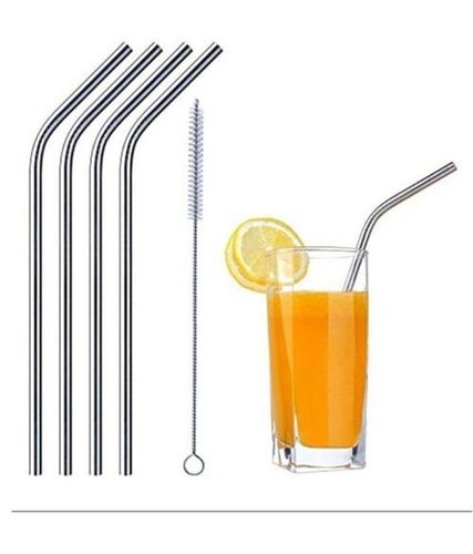 Reusable Steel Straight Straw With Cleaning Brush