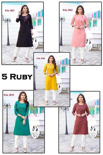 5 Ruby Rayon Kurti Catalogue Set