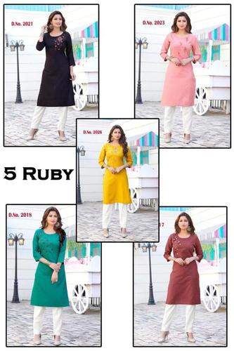 5 Ruby Rayon Kurti Catalogue Set