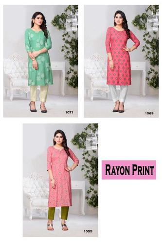 Rayon Print Kurtis Catalogue Set