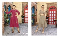 2 Piece Rayon Stripe Kurti Set
