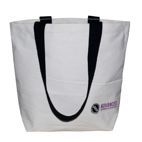12 Oz Natural Canvas Shopping Bag With Open Hanging Pocket & Long Handle