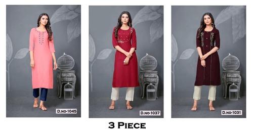3 Piece Rayon Kurti Catalogue Set
