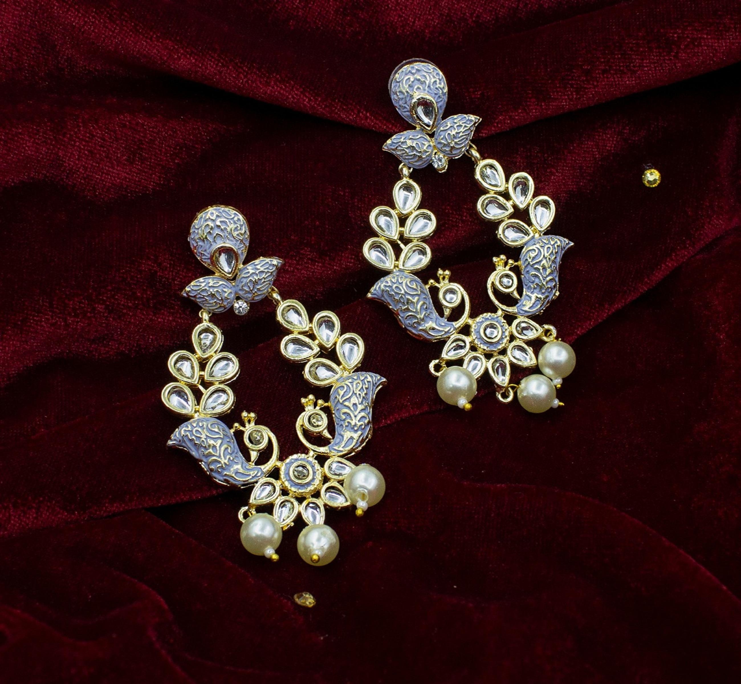 New Fancy Design Kundan Minakari Earring For Girl & Women