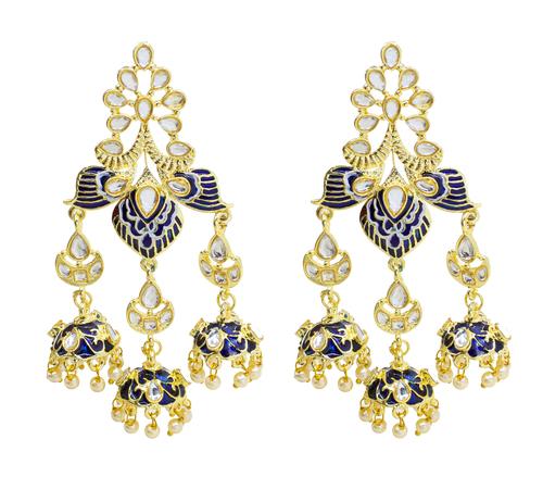 Traditional Party Wear Kundan Minakari Earring For Girls & Women