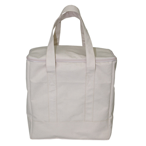 12 Oz Natural Canvas Cooler Bag With Inside PE Foam Insulator Polyester Lining With Top Zip Closure