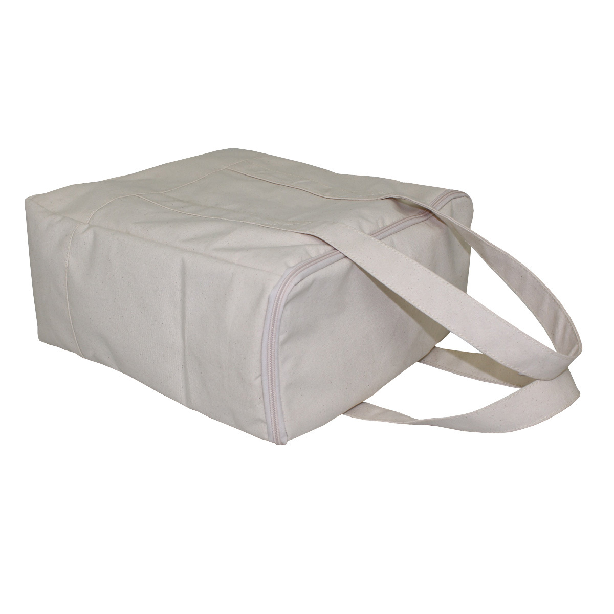 12 Oz Natural Canvas Cooler Bag With Inside PE Foam Insulator Polyester Lining