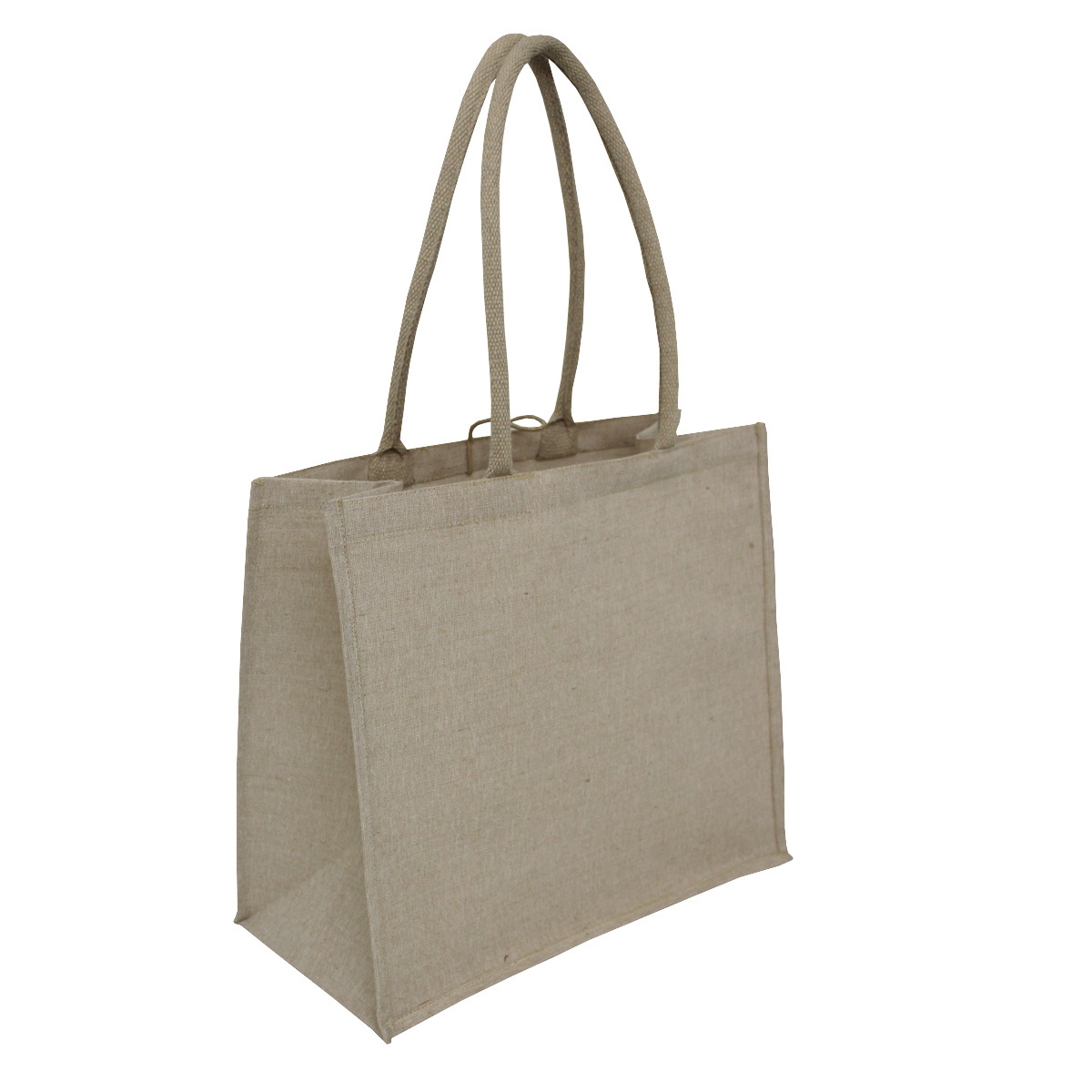 PP Laminated Juco Fabric Tote Bag With Padded Rope Handle & Hanging Loop