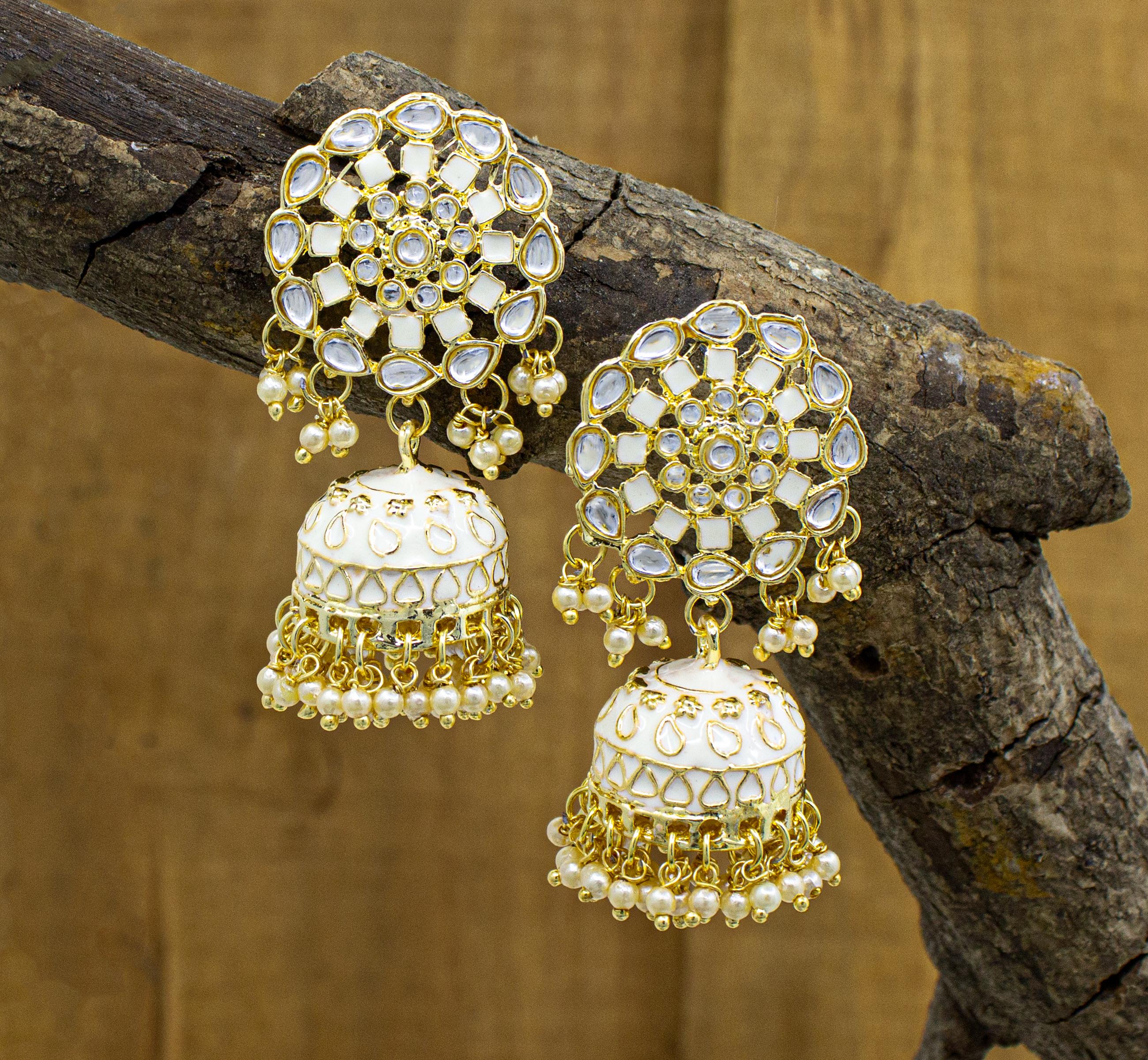 Traditional Bollywood Style Party Wear Kundan Earring For Girls & Women