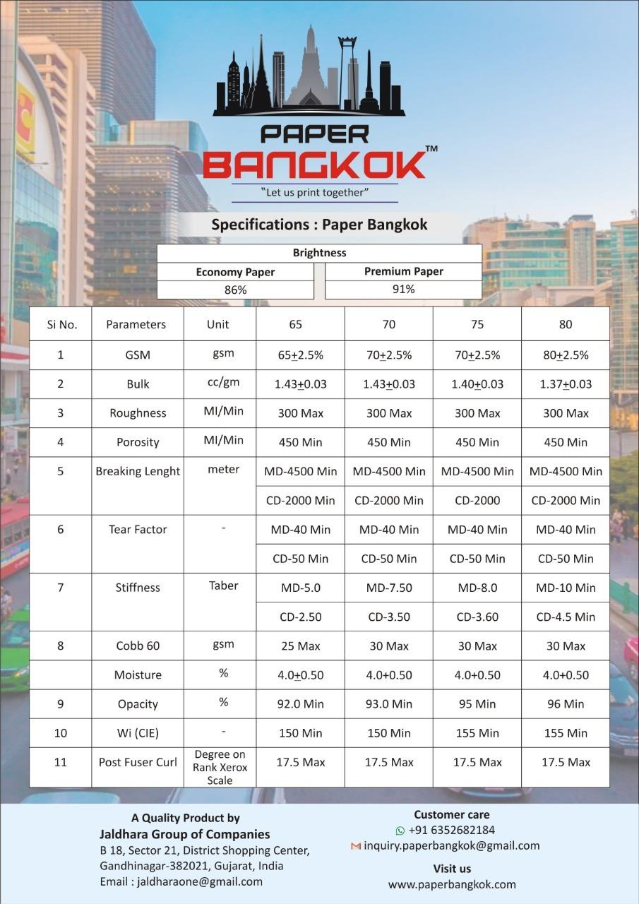 Paper Bangkok Economy Print Copier Paper 70gsm