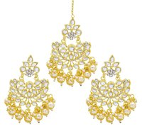 Traditional Jewellery Gold Plated Kundan & Pearl Maang Tikka Set For Women& Girls