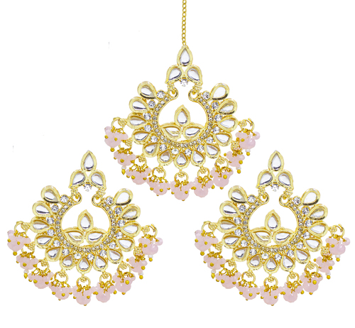 Traditional Jewellery 18K Gold Plated Kundan & Pearl Maang Tikka Earring Set for Women Girls