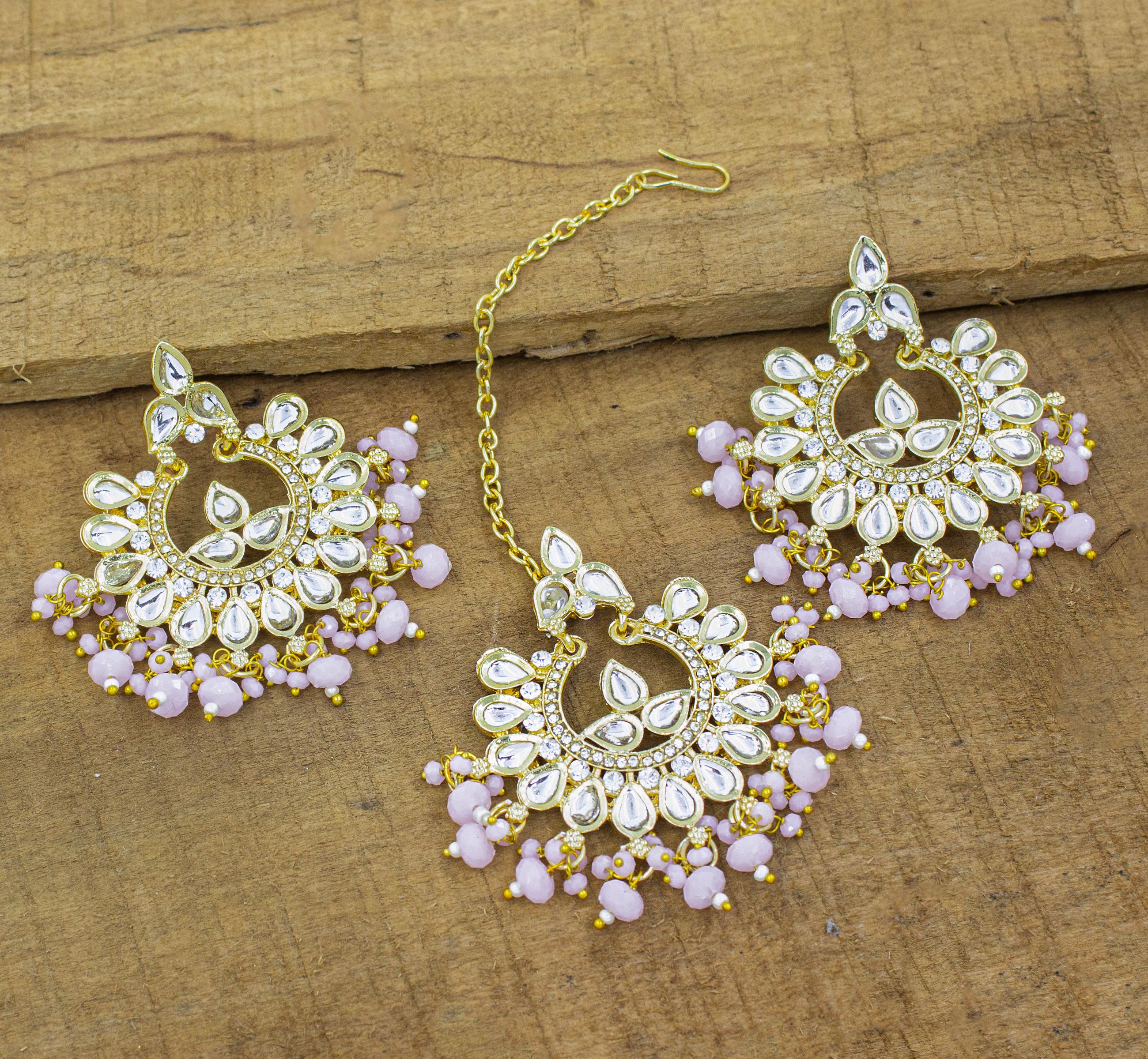 Traditional Jewellery 18K Gold Plated Kundan & Pearl Maang Tikka Earring Set for Women Girls