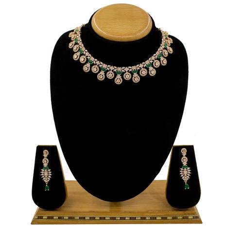 Simple Design Party Wear Ameriacn Diamond Necklace Set