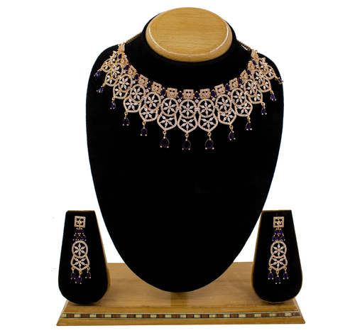 Traditional Design American Diamond Choker Necklace Set