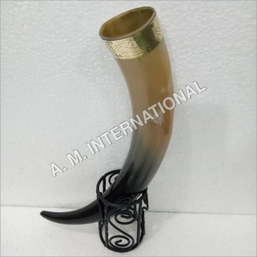 Natural Drinking Horn With Holder