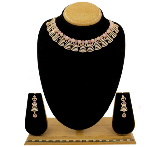 Beautiful Design American Diamond Choker Necklace Set For Women & Girls