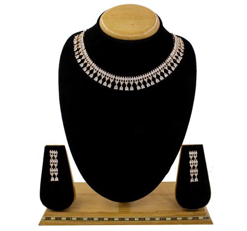 Glamorous Design American Diamond Rose Gold plated Necklace Set