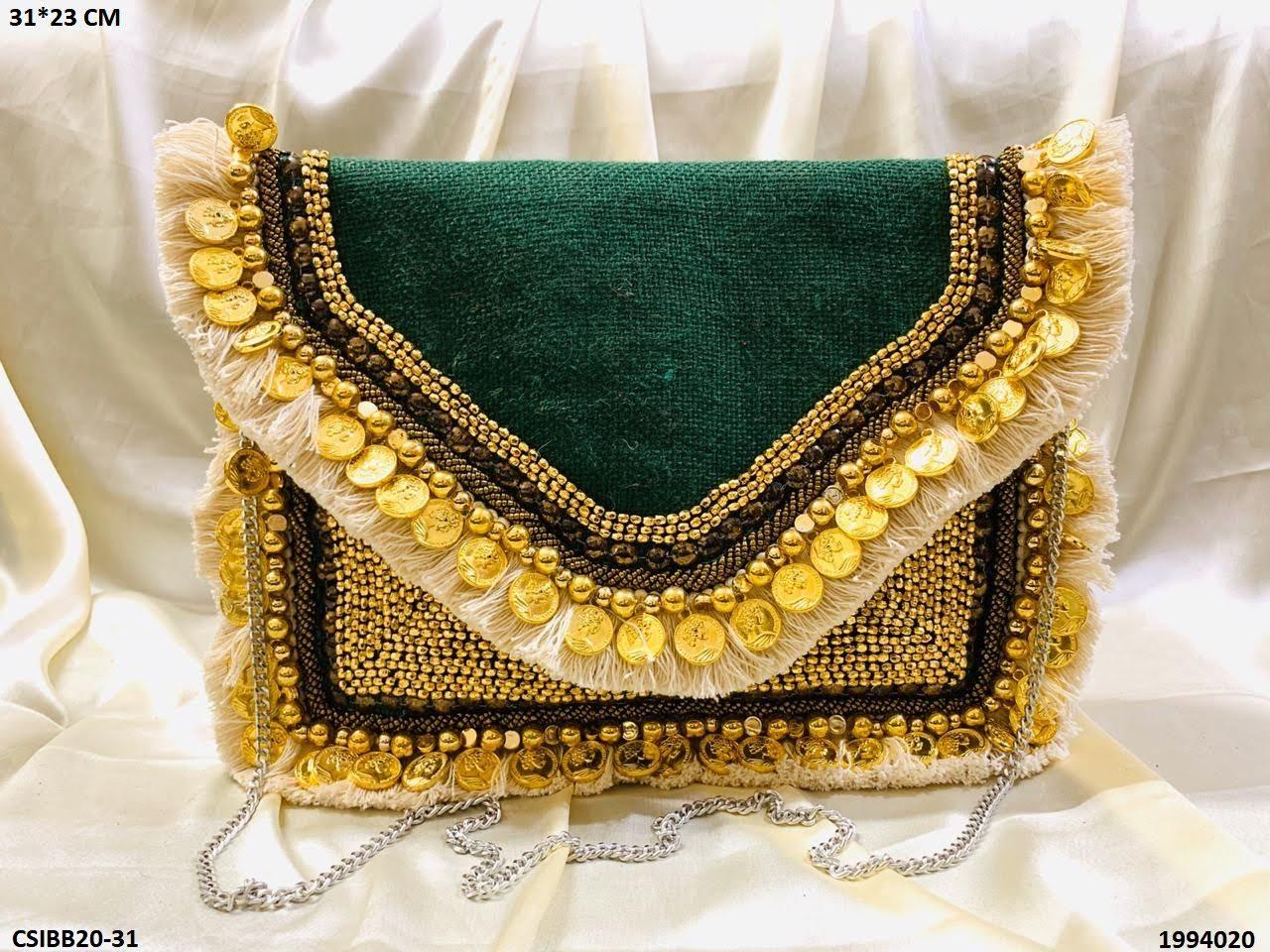 Designer jute banjara bag with chain sling