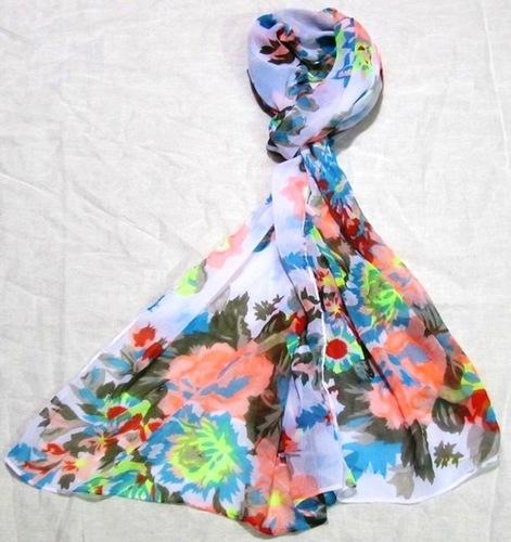 Floral Print Voile Scarves