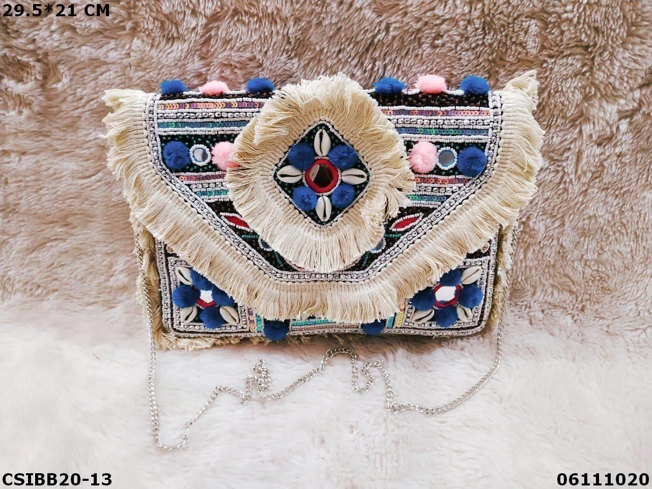 Designer canvas banjara bag with chain sling