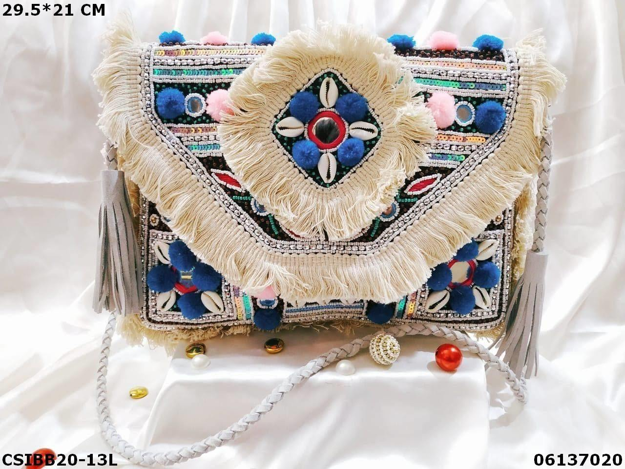 Designer Canvas Banjara Bag With Leather Belt