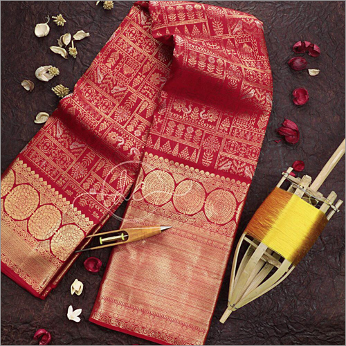 Latest Desiger Red Colour Kanchipuram Silk Saree